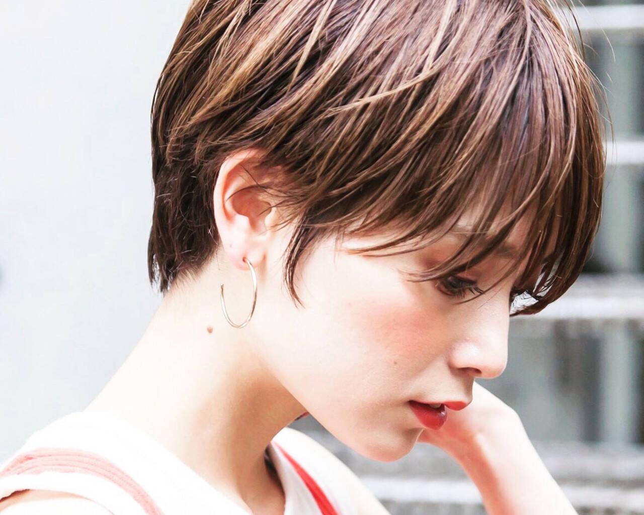 ヌーディベージュ ミルクティーベージュ ベリーショート ショートヘアスタイルや髪型の写真・画像