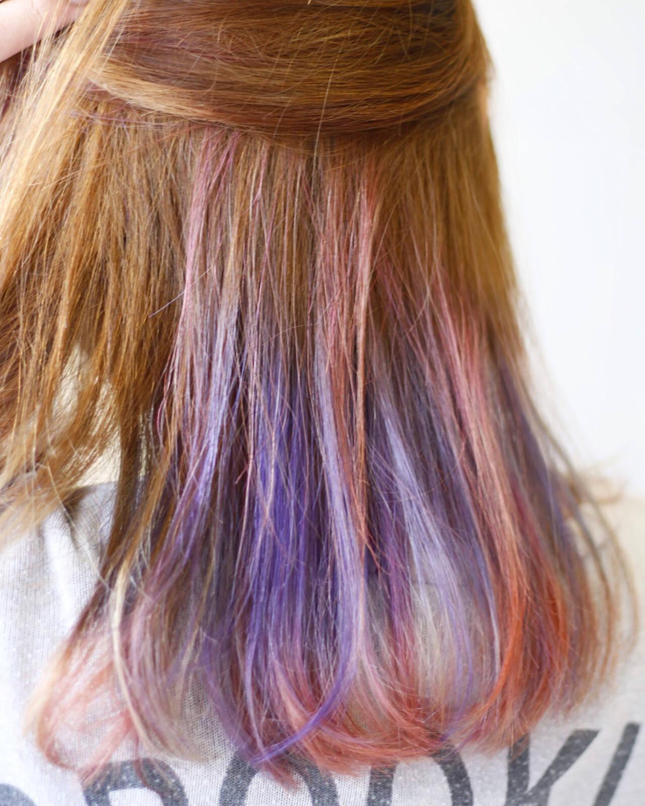 ストリート ハイトーン ミディアム インナーカラーヘアスタイルや髪型の写真・画像
