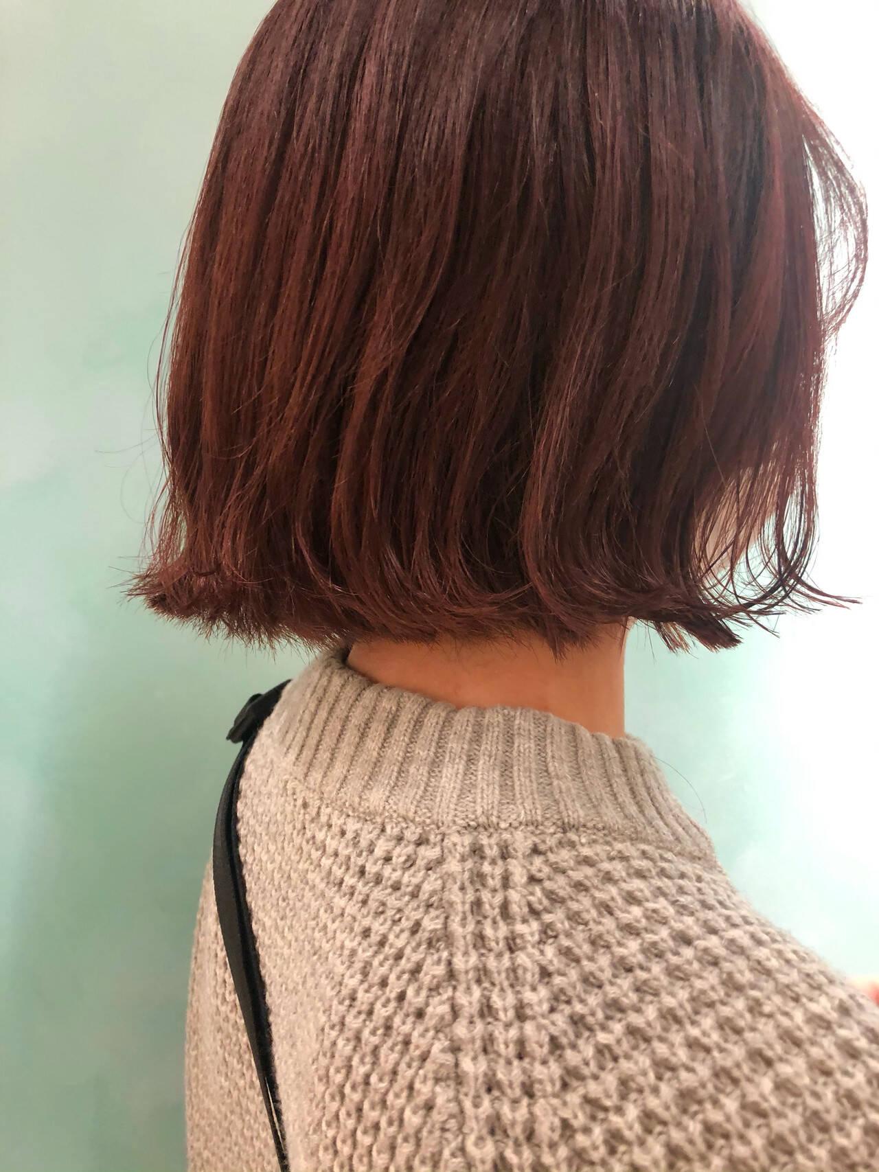 ミニボブ ボブ 切りっぱなしボブ ピンクヘアスタイルや髪型の写真・画像