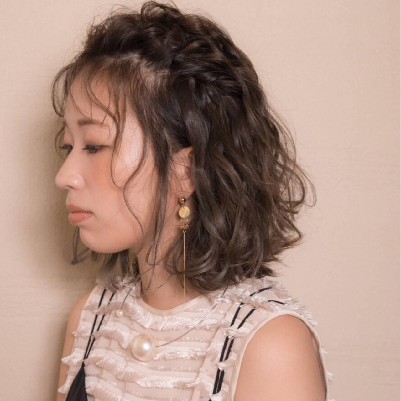 ウェーブ ボブ シースルーバング 秋ヘアスタイルや髪型の写真・画像