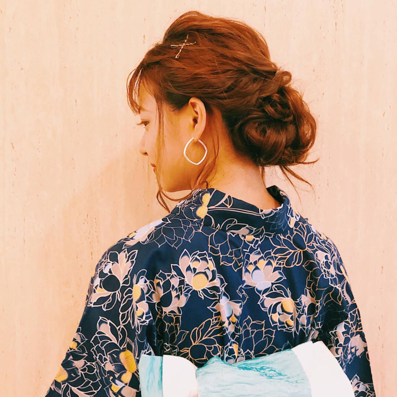 和装 花火大会 ロング アップスタイルヘアスタイルや髪型の写真・画像