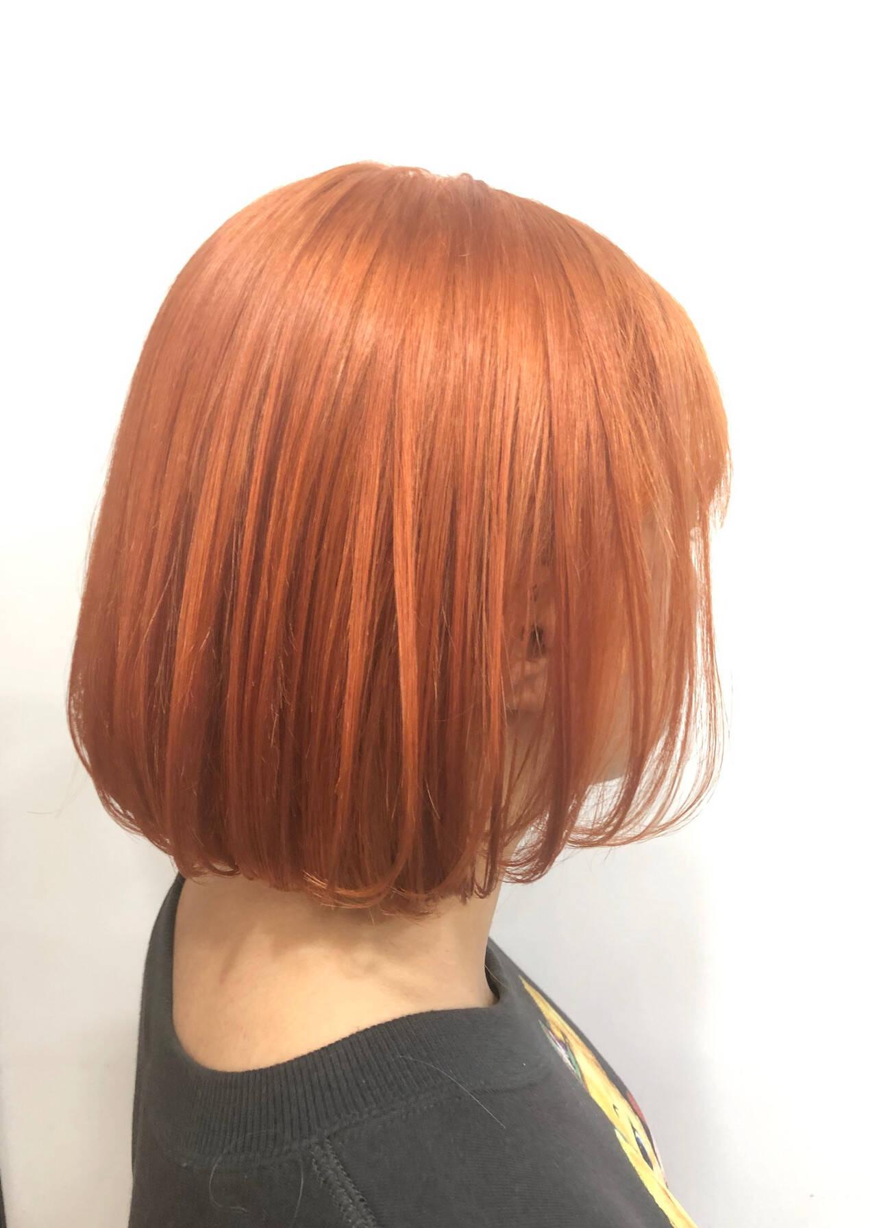 ボブ オレンジ オレンジベージュ オレンジカラーヘアスタイルや髪型の写真・画像