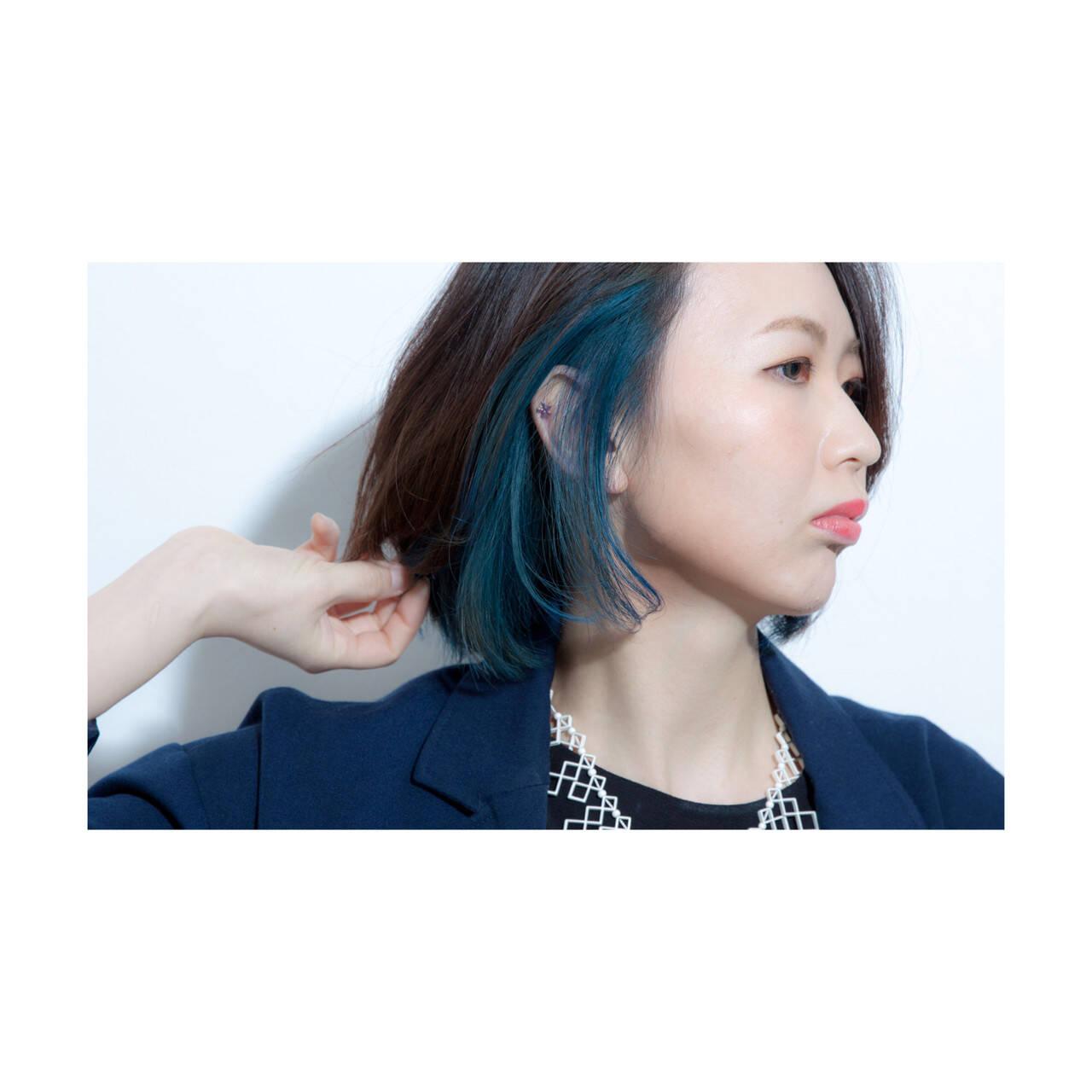 インナーカラー ボブ 大人女子 色気ヘアスタイルや髪型の写真・画像