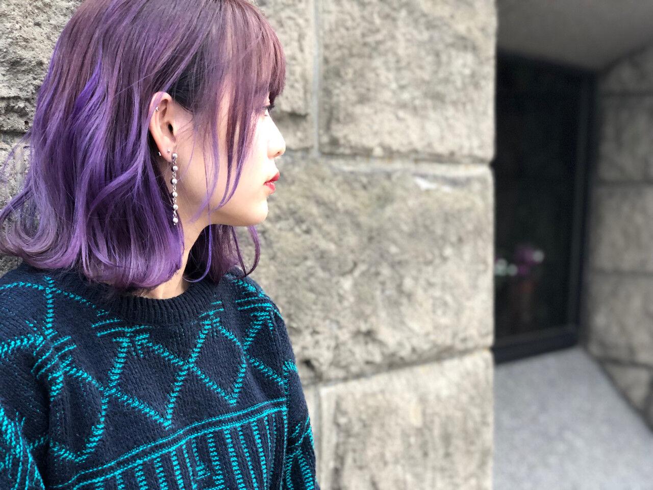 グラデーションカラー ストリート 外国人風カラー ボブヘアスタイルや髪型の写真・画像