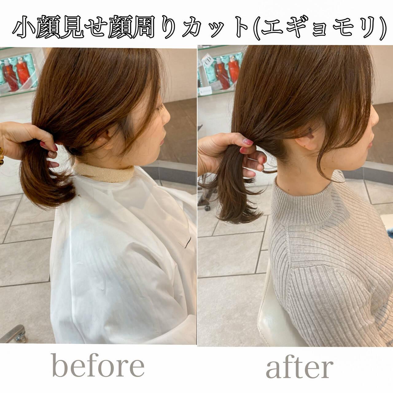 ミディアム 横顔美人 フェミニン 韓国風ヘアーヘアスタイルや髪型の写真・画像