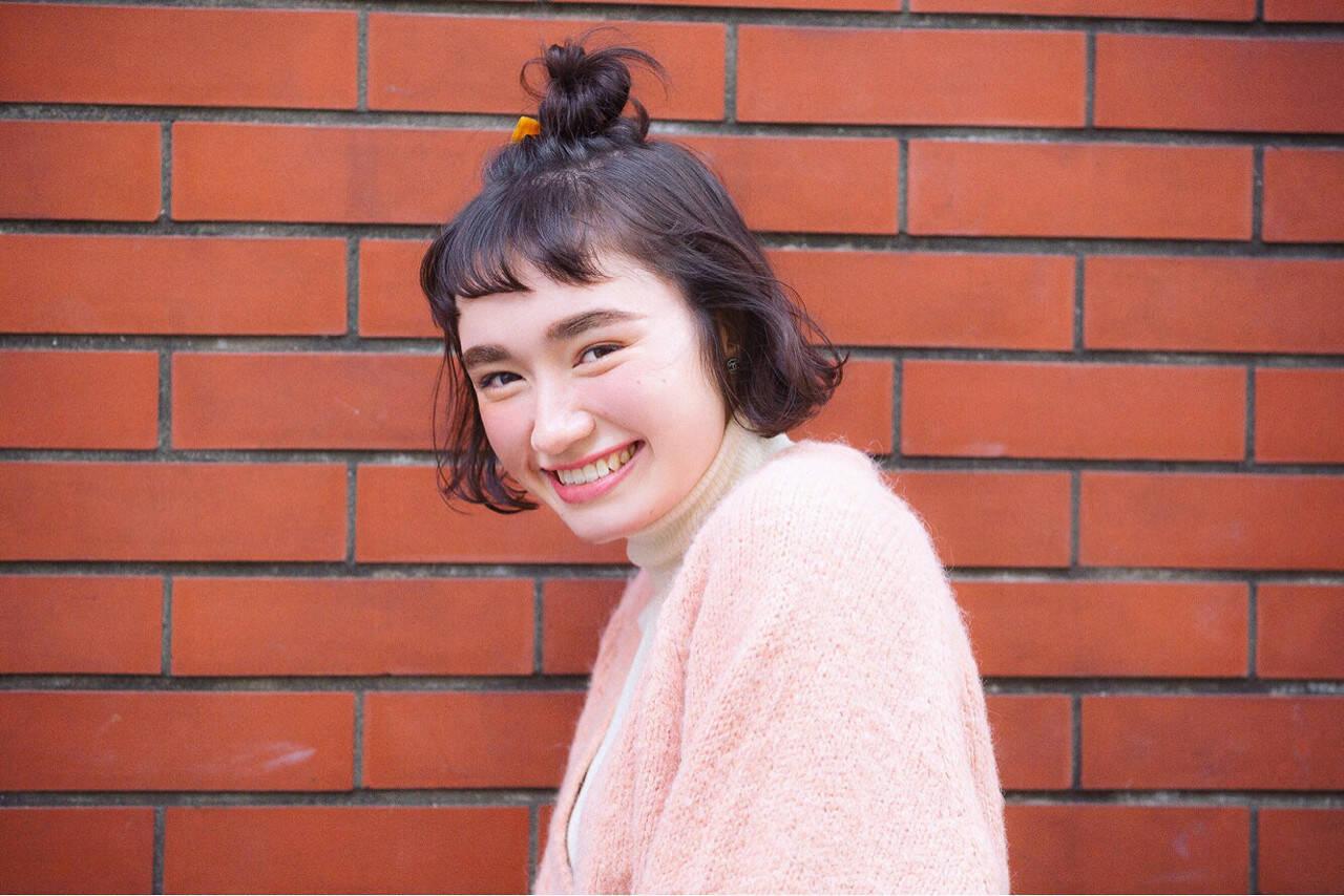 ハーフアップ ボブ ショート 簡単ヘアアレンジヘアスタイルや髪型の写真・画像