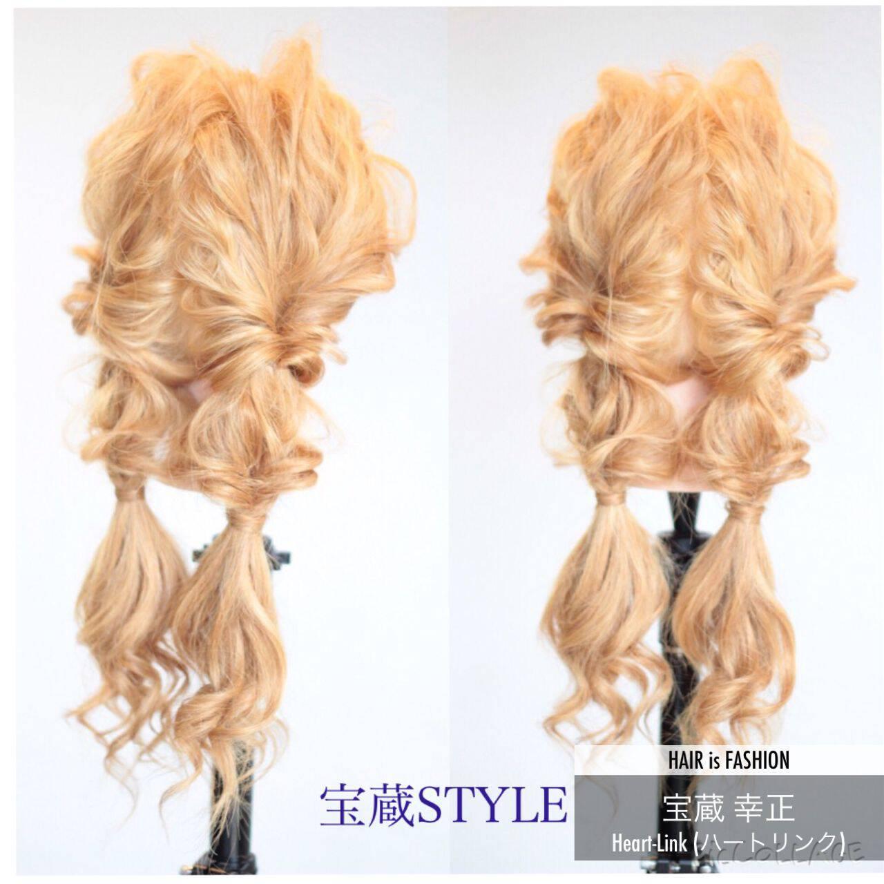 ヘアアレンジ ロング ツインテール くるりんぱヘアスタイルや髪型の写真・画像