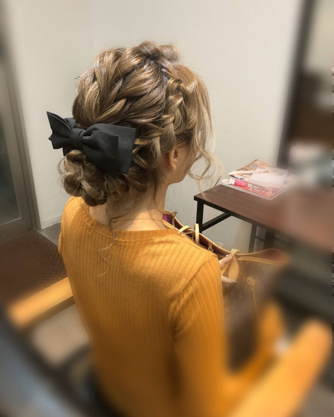 編み込み ガーリー ヘアアレンジ アップスタイルヘアスタイルや髪型の写真・画像