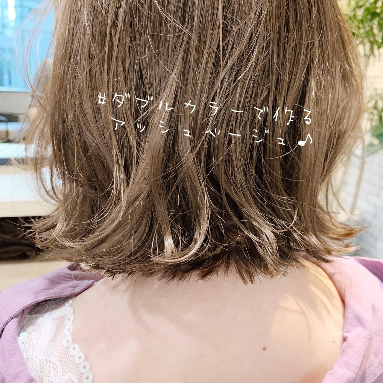 ボブ 切りっぱなしボブ ショートヘア インナーカラーヘアスタイルや髪型の写真・画像