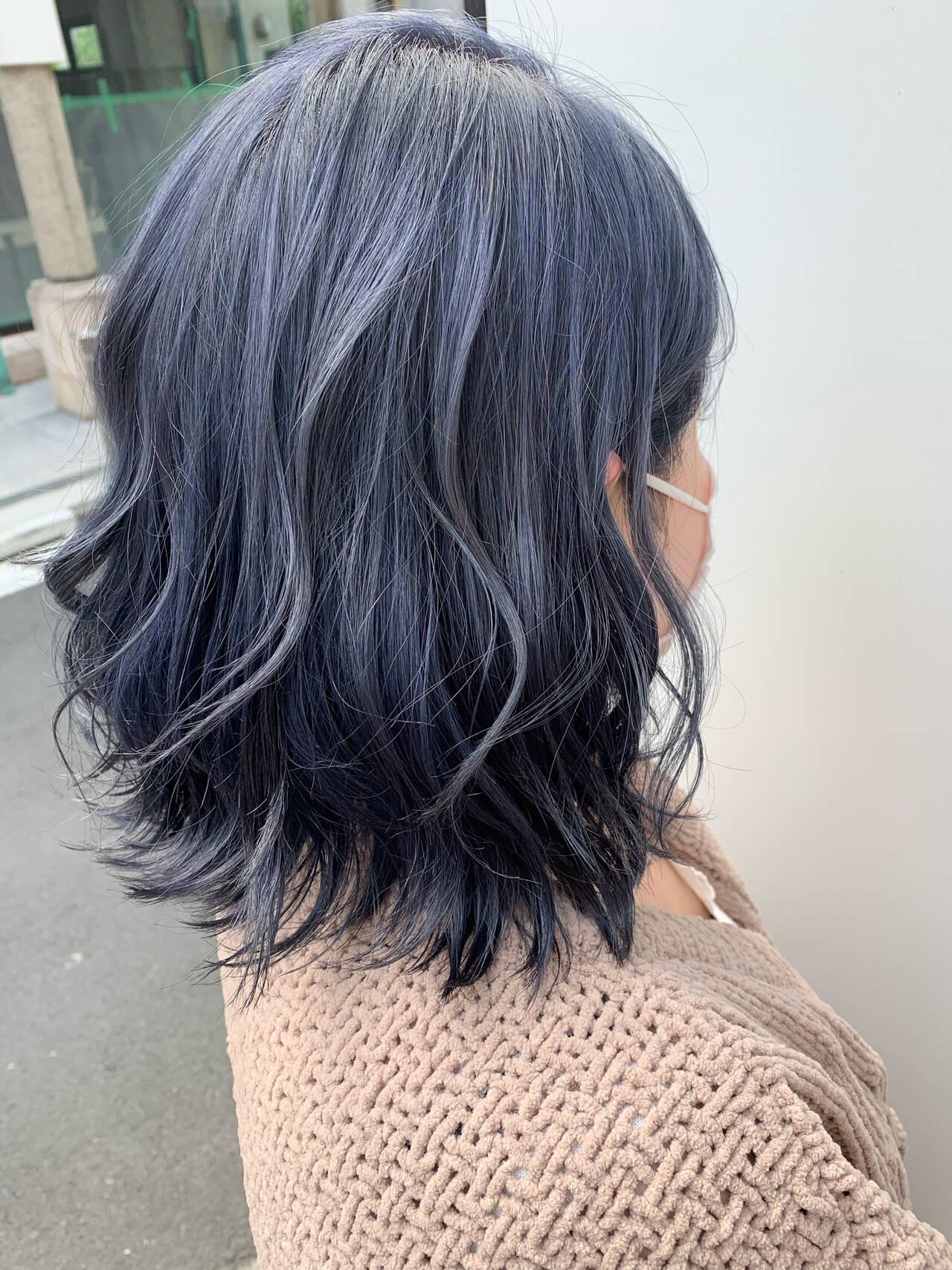 ボブ ブルージュ ブルー ネイビーアッシュヘアスタイルや髪型の写真・画像