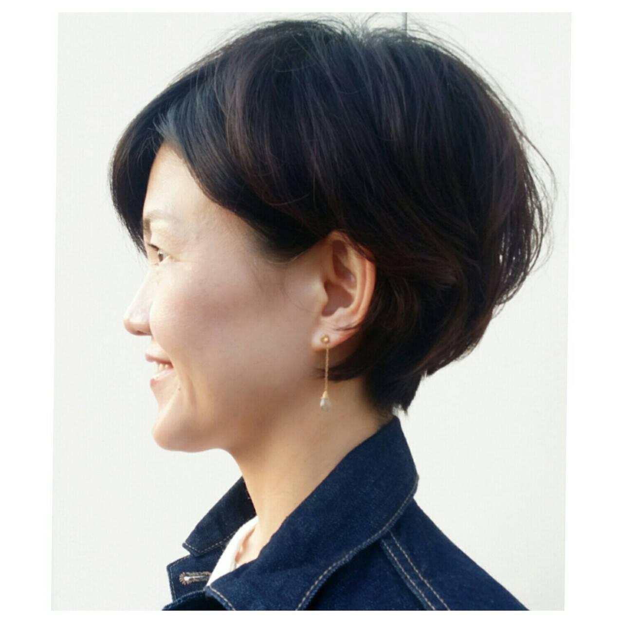 かわいい ショート 上品 40代ヘアスタイルや髪型の写真・画像