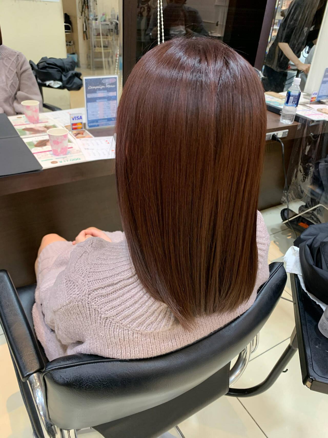 ガーリー セミロング ピンクブラウン ピンクベージュヘアスタイルや髪型の写真・画像