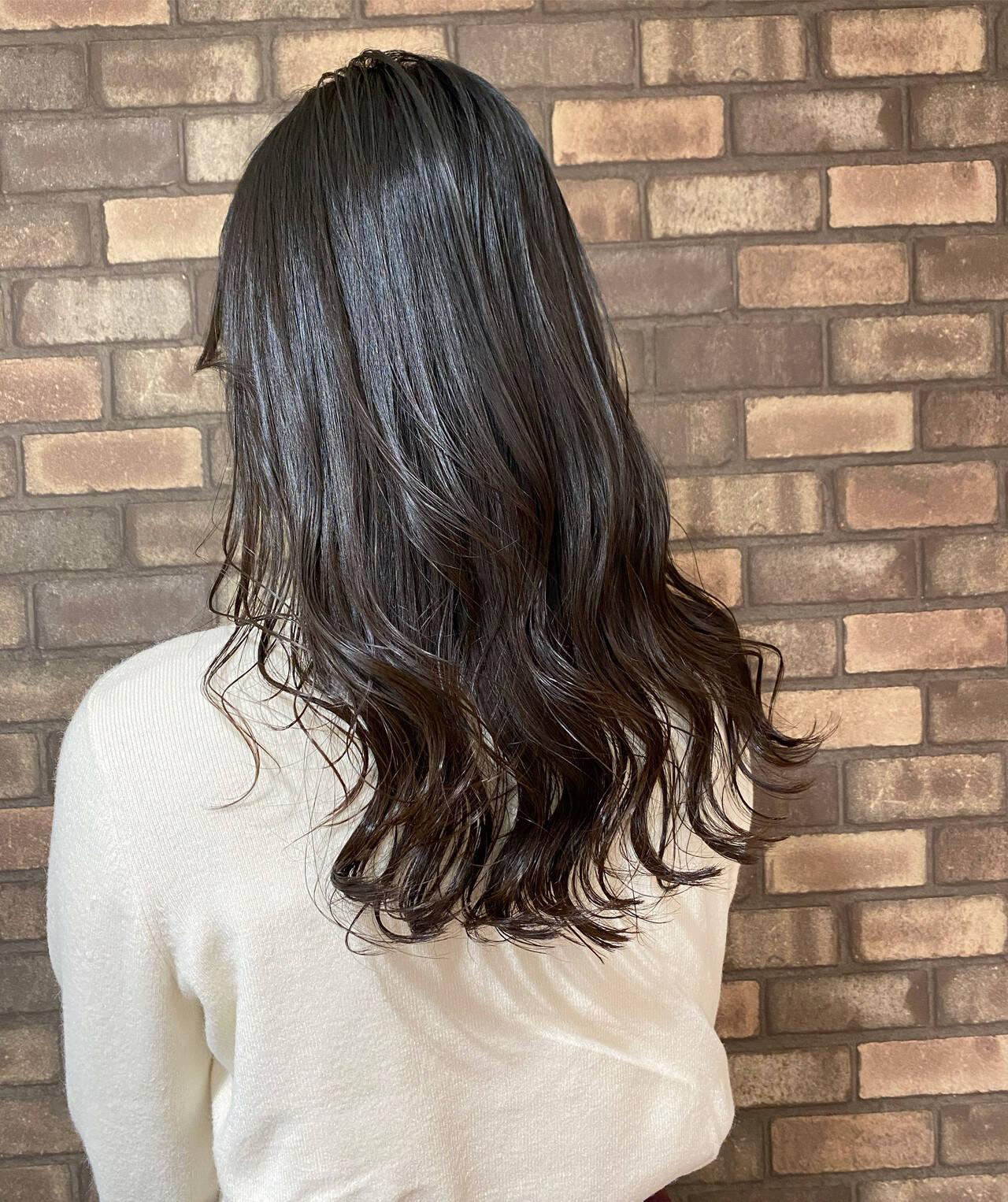 大人ロング ナチュラル 艶髪 イルミナカラーヘアスタイルや髪型の写真・画像