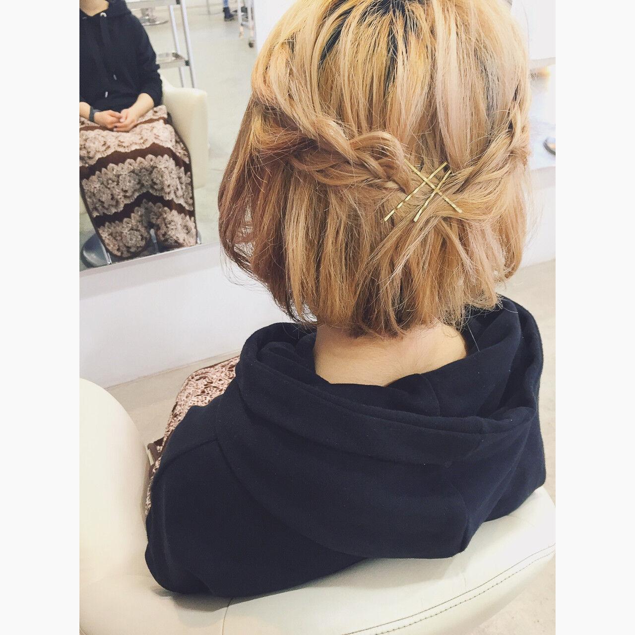ゆるふわ ヘアアレンジ ショート 編み込みヘアスタイルや髪型の写真・画像