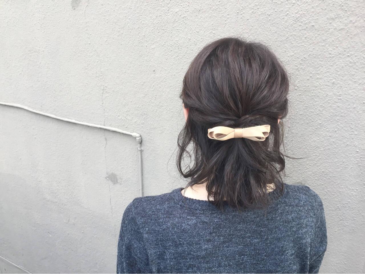 ボブ ヘアアクセ ハーフアップ 簡単ヘアアレンジヘアスタイルや髪型の写真・画像