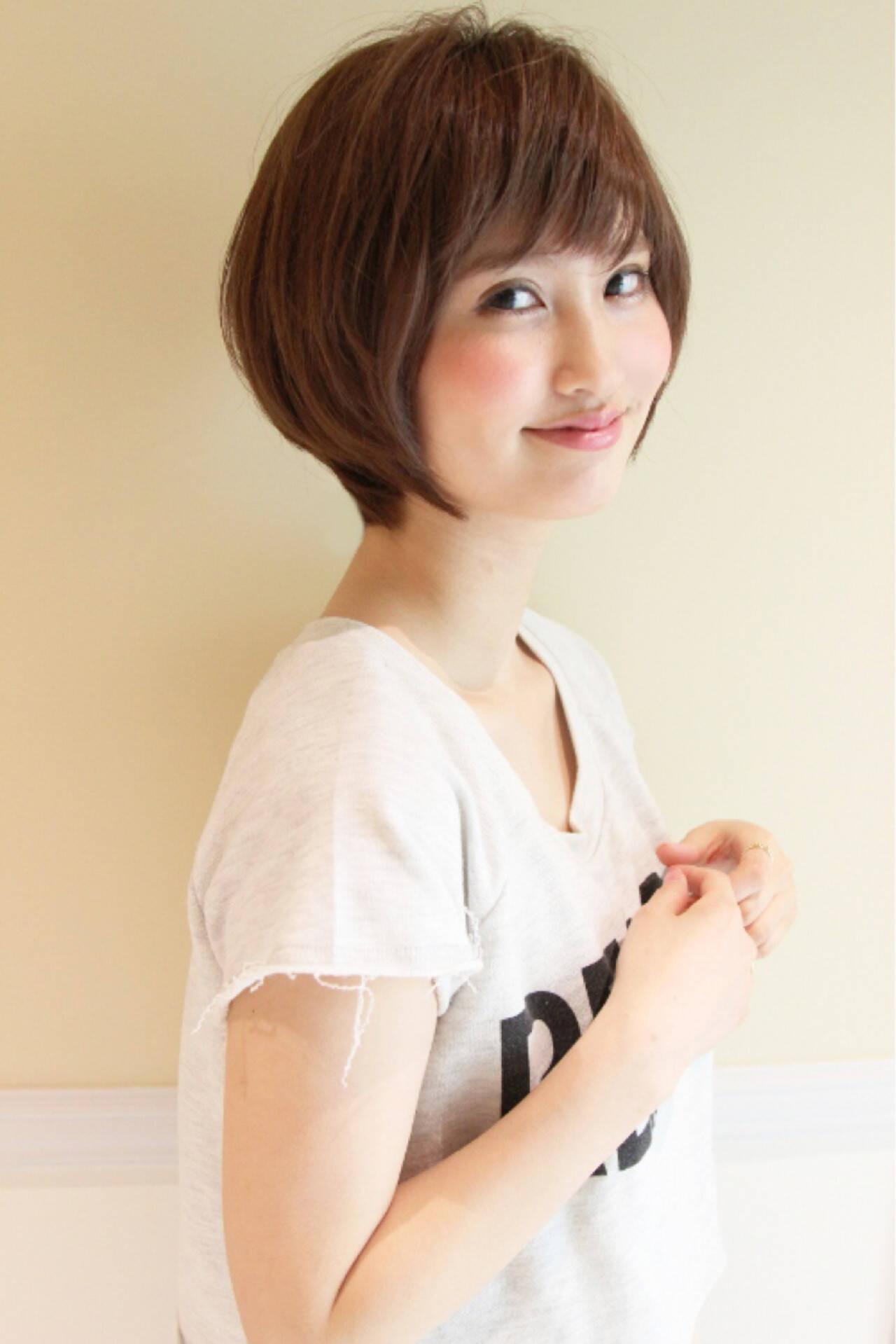 小顔 ナチュラル 似合わせ 黒髪ヘアスタイルや髪型の写真・画像