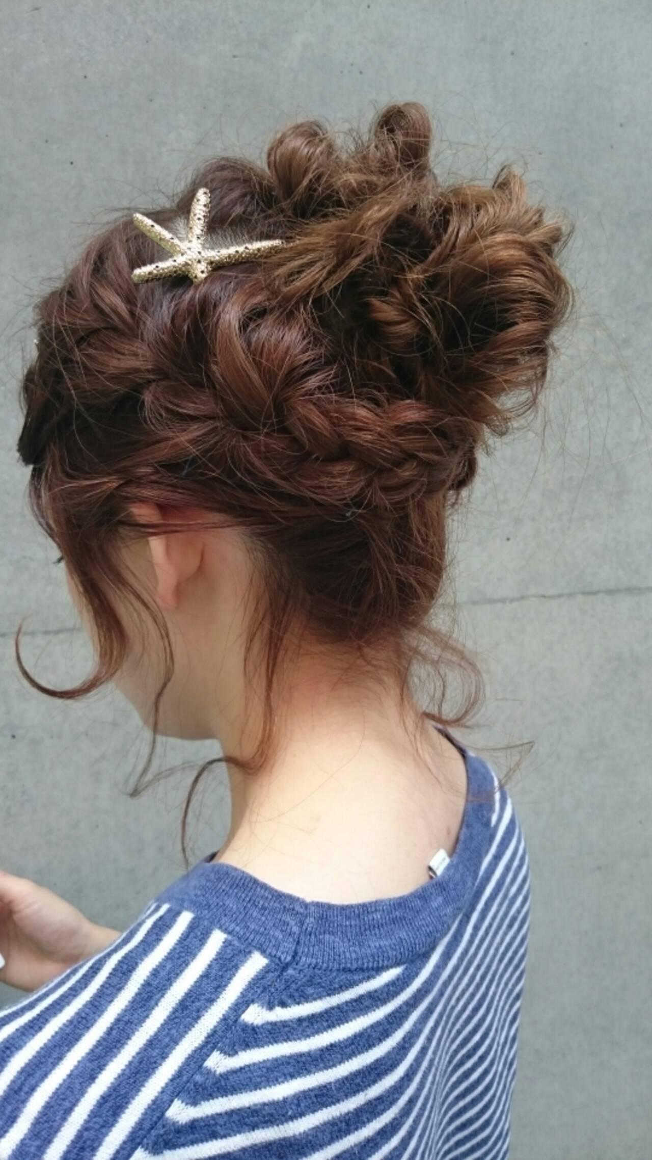 ヘアアレンジ ナチュラル かわいい ミディアムヘアスタイルや髪型の写真・画像