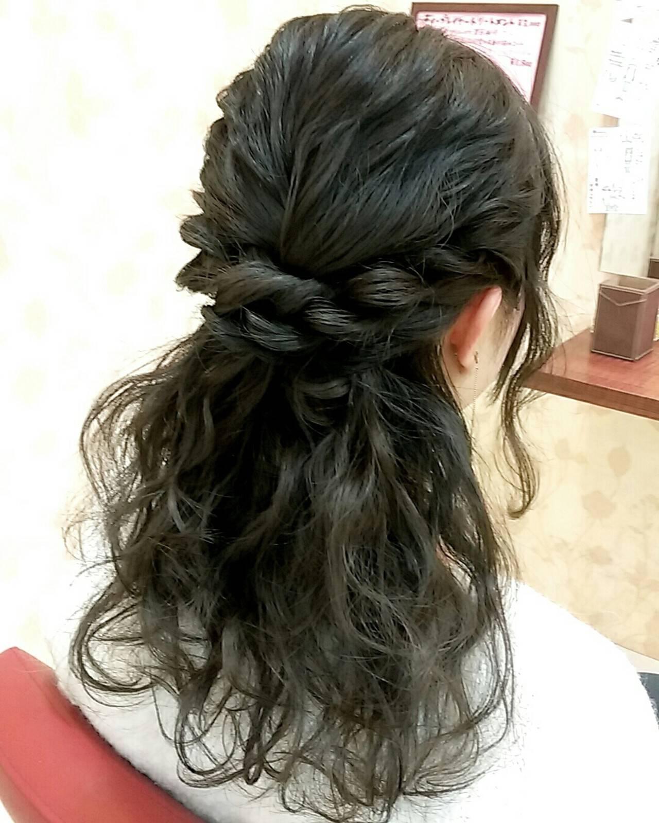 セミロング ガーリー ゆるふわ 結婚式ヘアスタイルや髪型の写真・画像