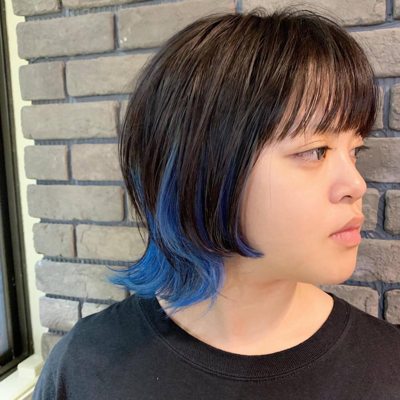 ネオウルフ ブルー ストリート ウルフ女子ヘアスタイルや髪型の写真・画像