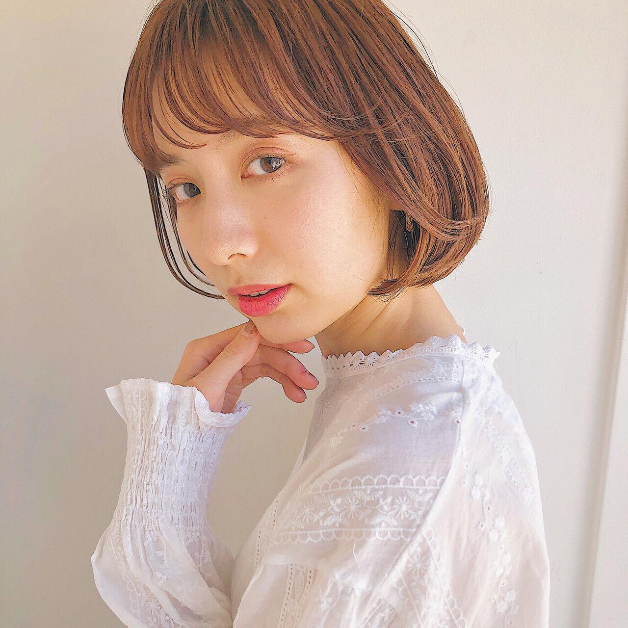 ボブ 韓国ヘア 切りっぱなしボブ ナチュラルヘアスタイルや髪型の写真・画像