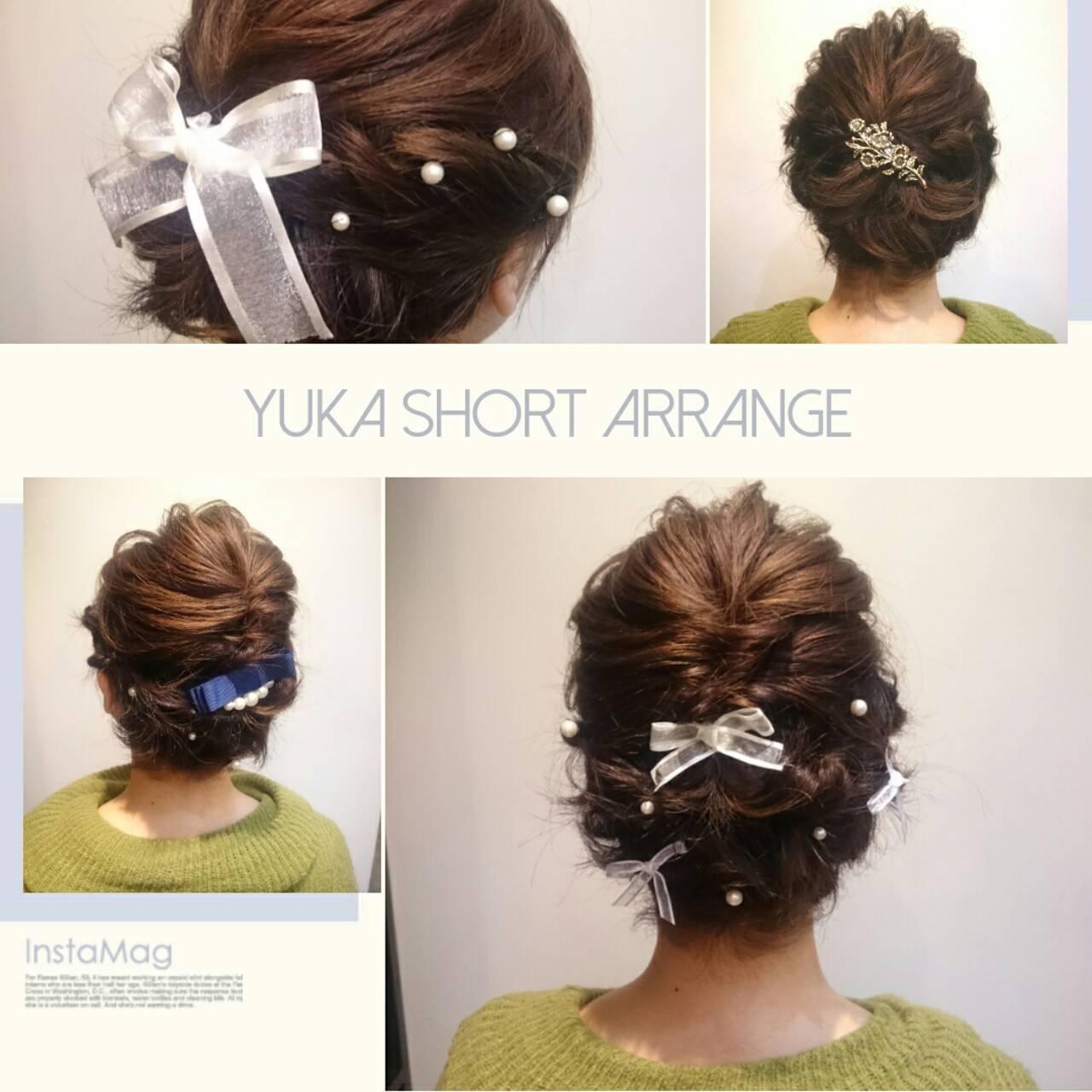 ヘアアレンジ ナチュラル 結婚式 ショートヘアスタイルや髪型の写真・画像