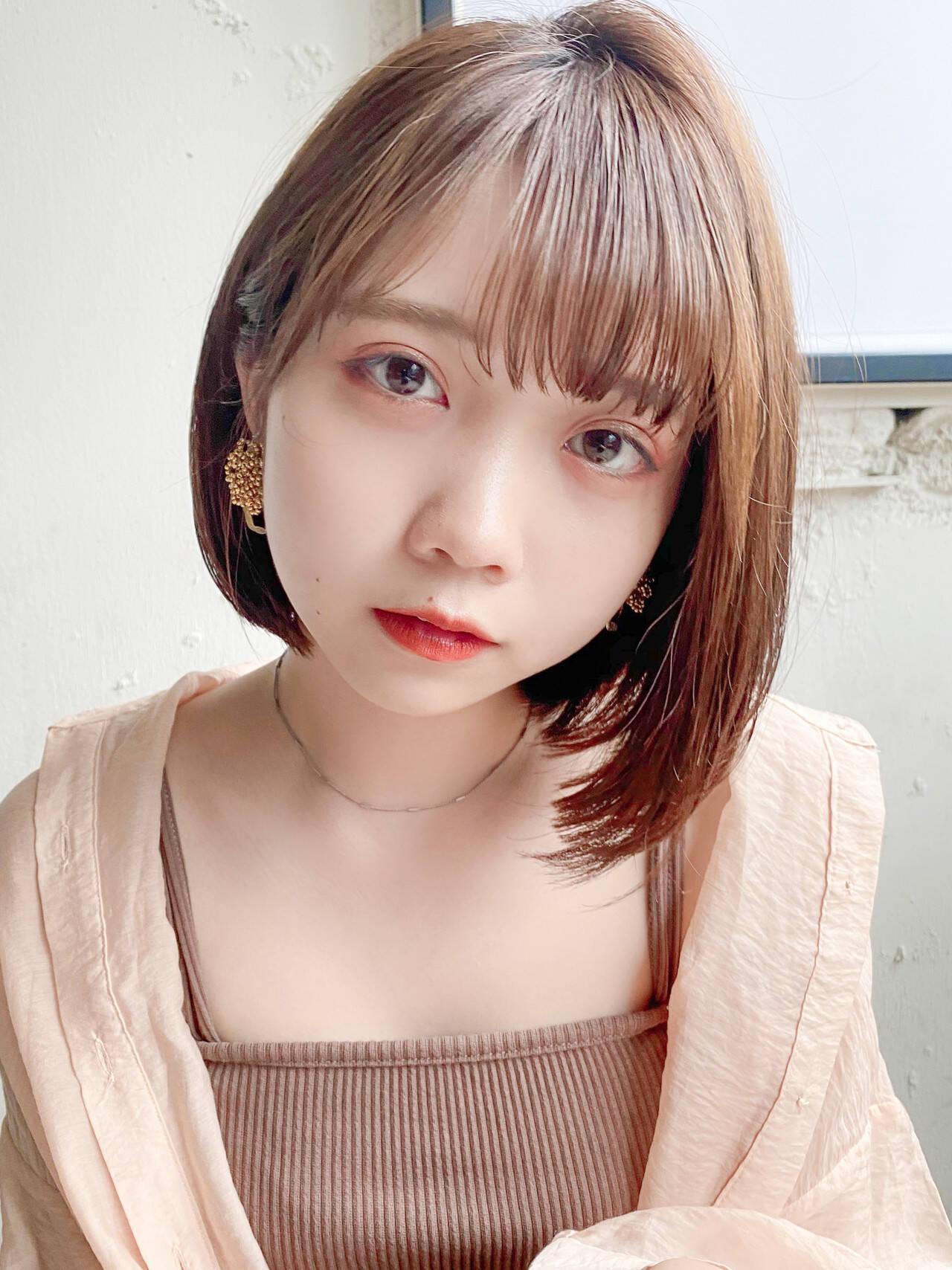 縮毛矯正 韓国ヘア ストレート 縮毛矯正ストカールヘアスタイルや髪型の写真・画像