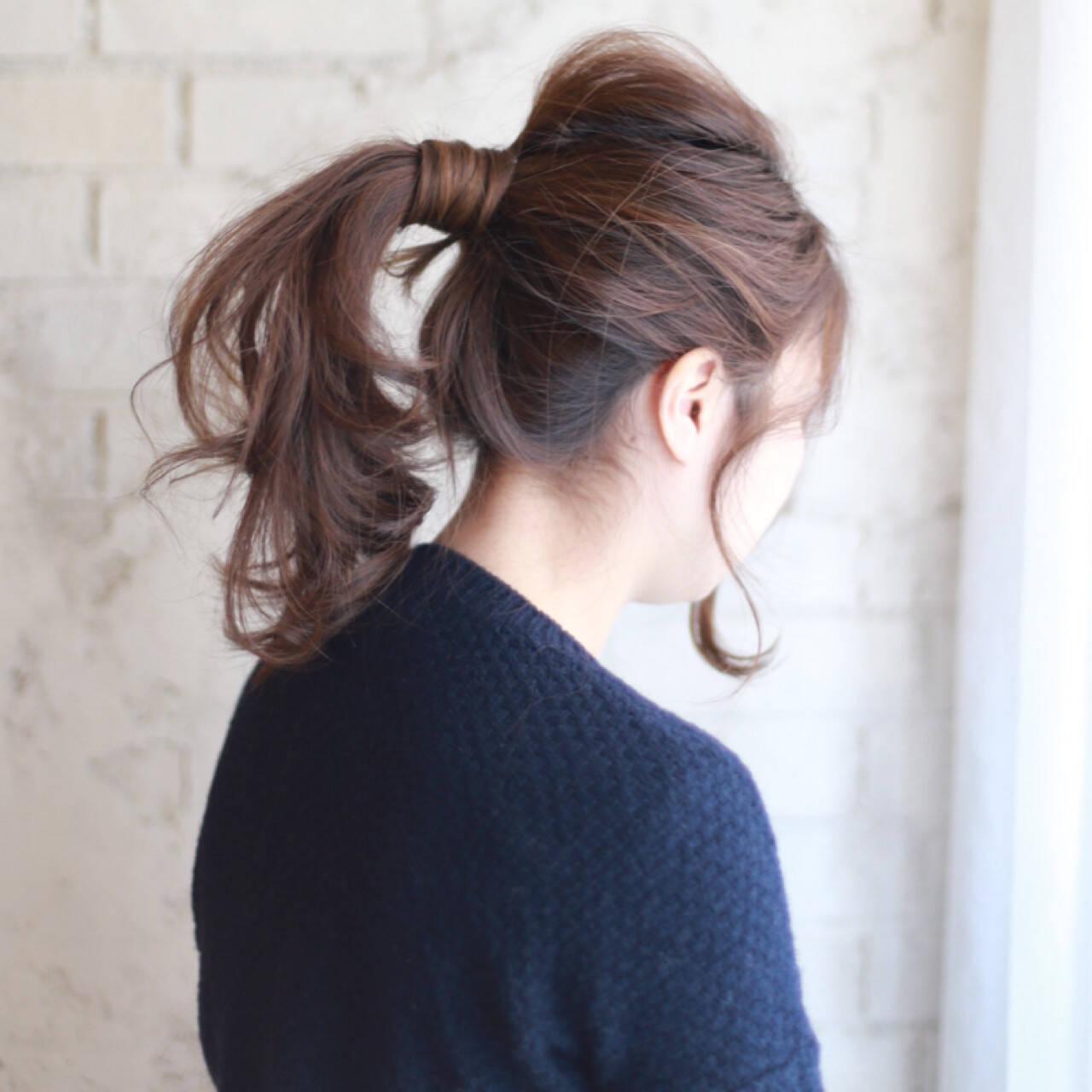 ポニーテール セミロング 大人かわいい ショートヘアスタイルや髪型の写真・画像