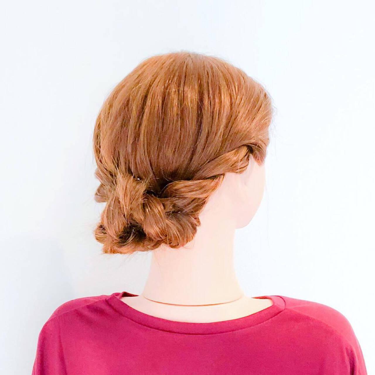 ねじり ロング フェミニン 簡単ヘアアレンジヘアスタイルや髪型の写真・画像