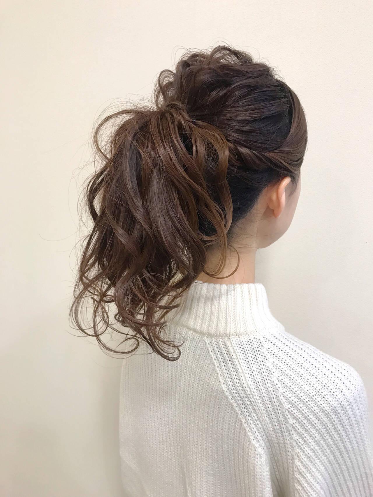 ナチュラル ポニーテール ロング ポニーテールアレンジヘアスタイルや髪型の写真・画像
