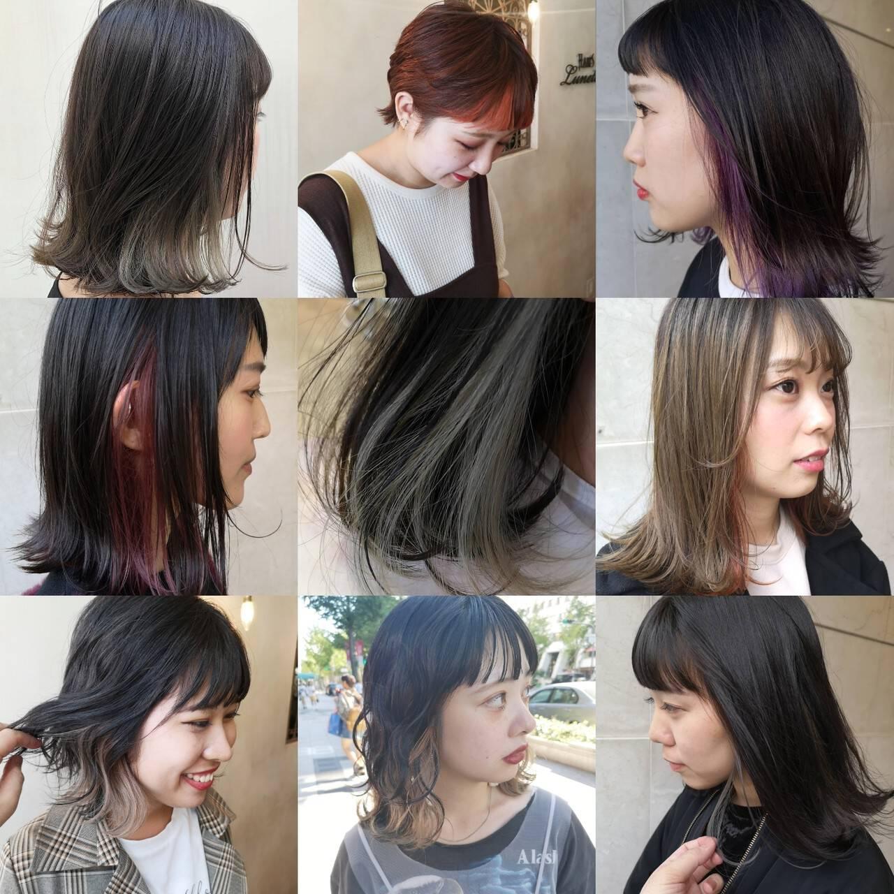 ワイドバング インナーカラー N.オイル マッシュウルフヘアスタイルや髪型の写真・画像