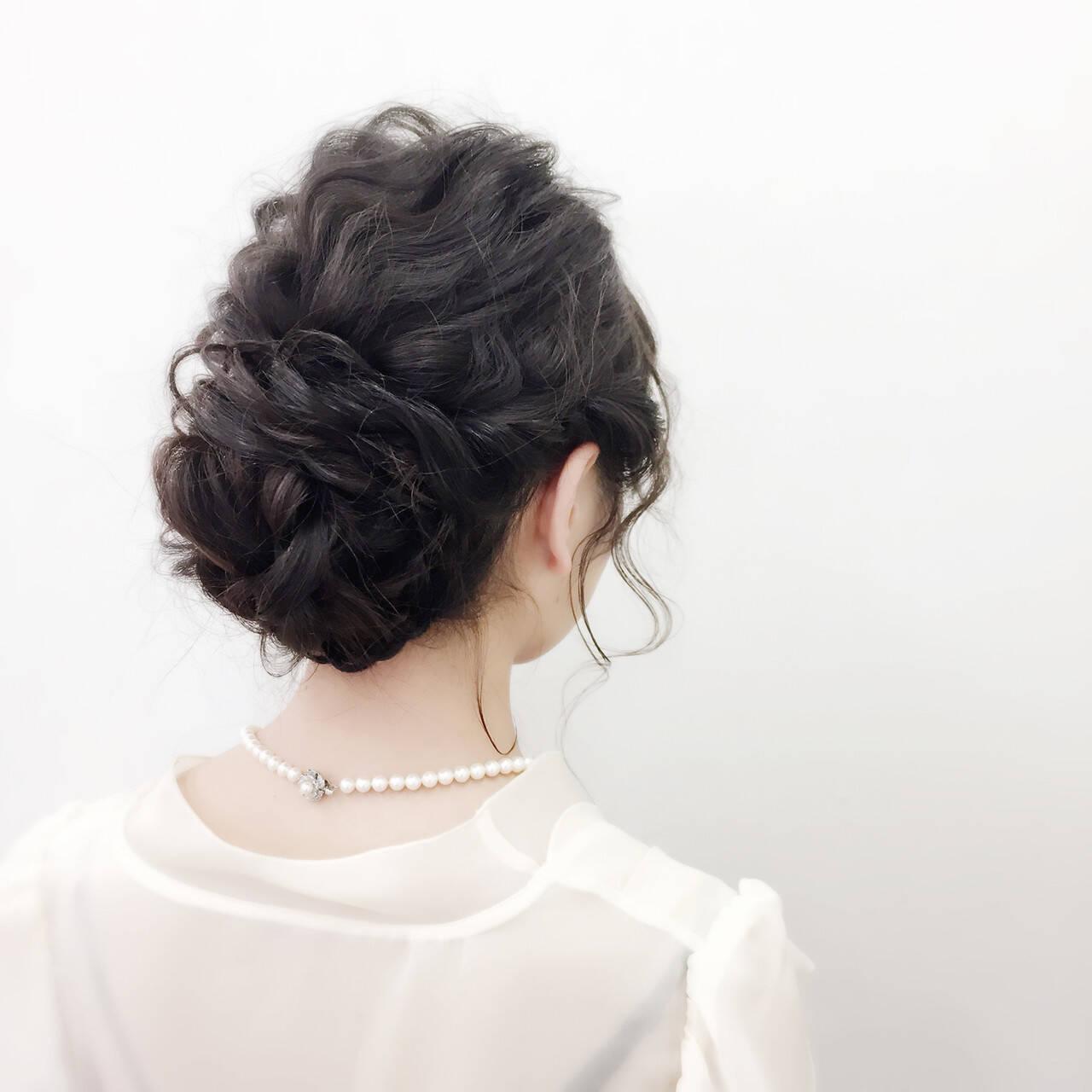 ヘアアレンジ アップスタイル 二次会 セミロングヘアスタイルや髪型の写真・画像