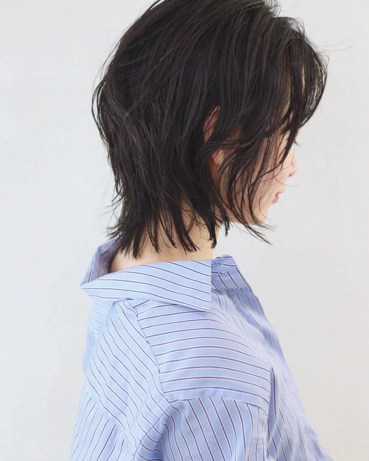 ウルフパーマ ニュアンスウルフ マッシュウルフ ミディアムヘアスタイルや髪型の写真・画像