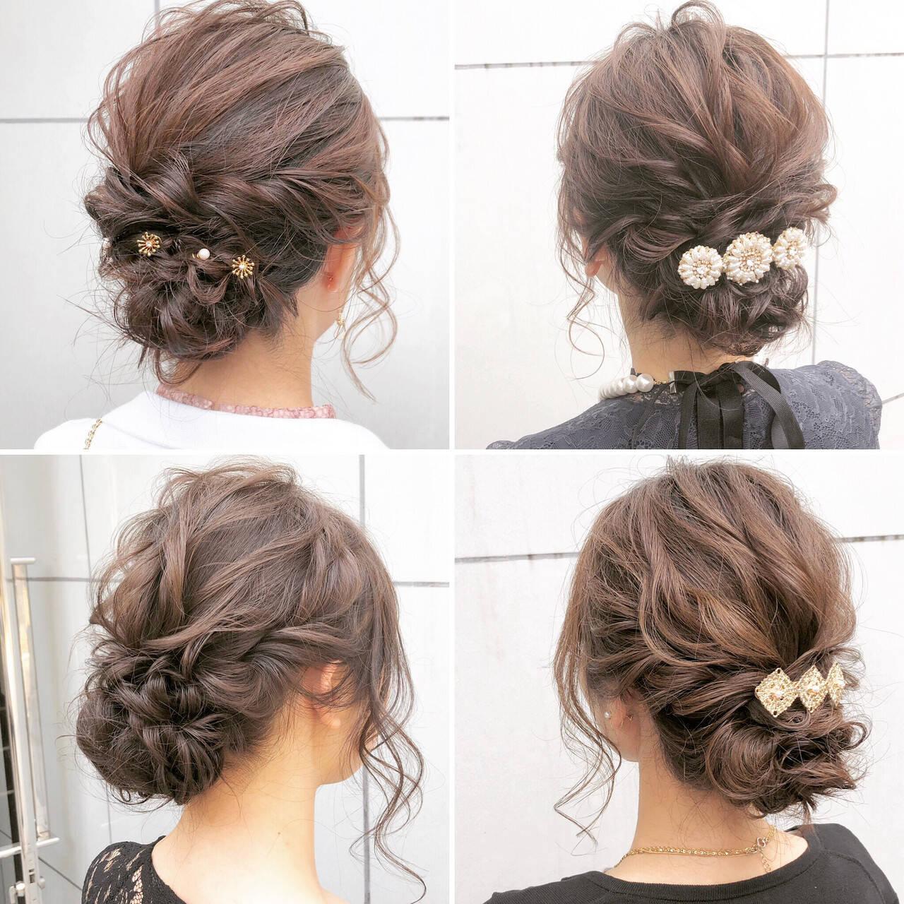 デート ヘアアレンジ セミロング 結婚式ヘアスタイルや髪型の写真・画像
