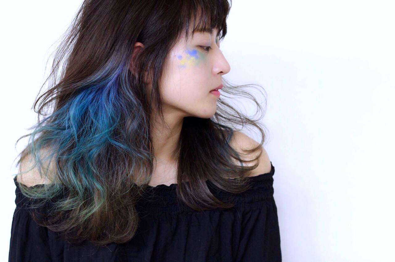 モード ハイトーン ロング ハイトーンカラーヘアスタイルや髪型の写真・画像