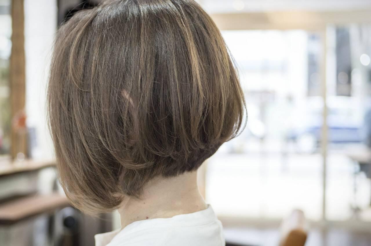 小顔 前下がり ボブ 大人かわいいヘアスタイルや髪型の写真・画像