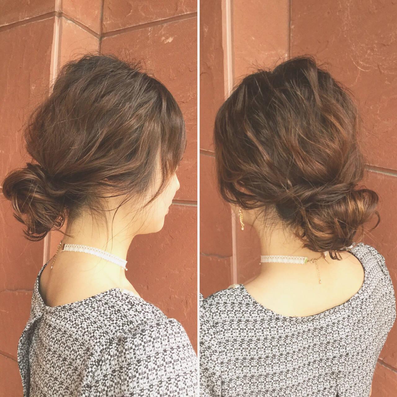 シニヨン ヘアアレンジ ミディアム 結婚式ヘアスタイルや髪型の写真・画像