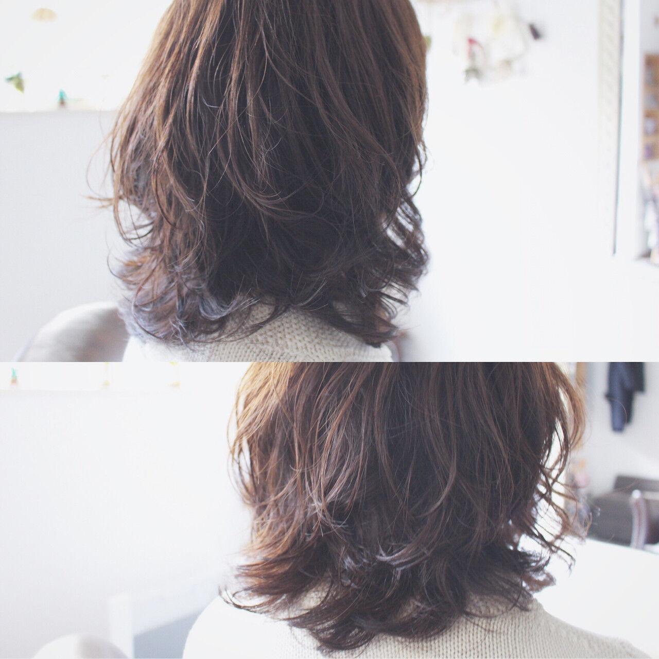 パーマ 大人かわいい フェミニン ナチュラルヘアスタイルや髪型の写真・画像