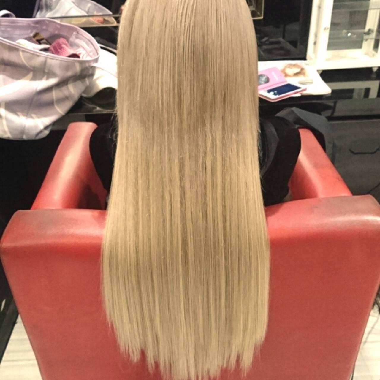 ハイトーン ロング ガーリー エクステヘアスタイルや髪型の写真・画像