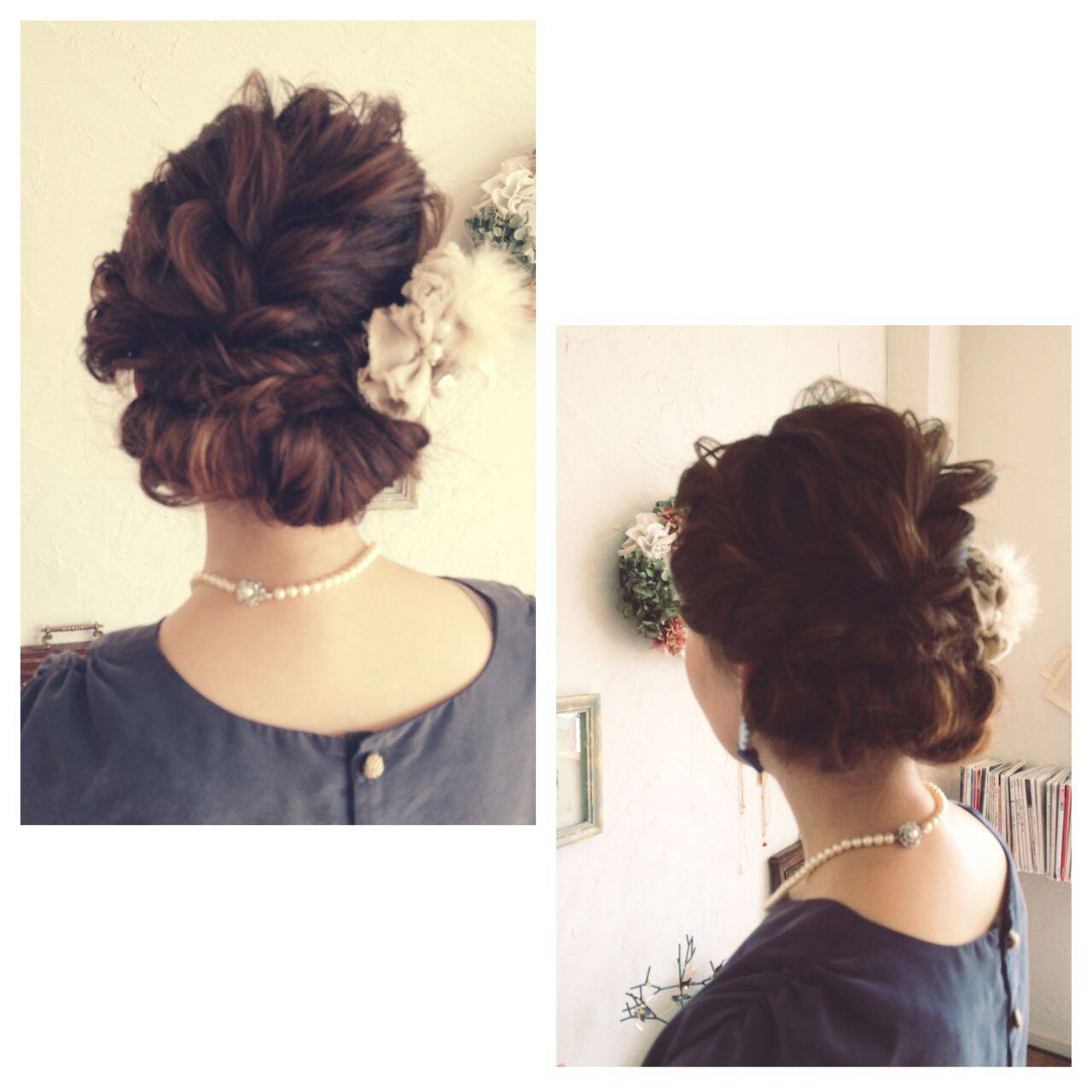 ヘアアレンジ ショート 結婚式 ナチュラルヘアスタイルや髪型の写真・画像