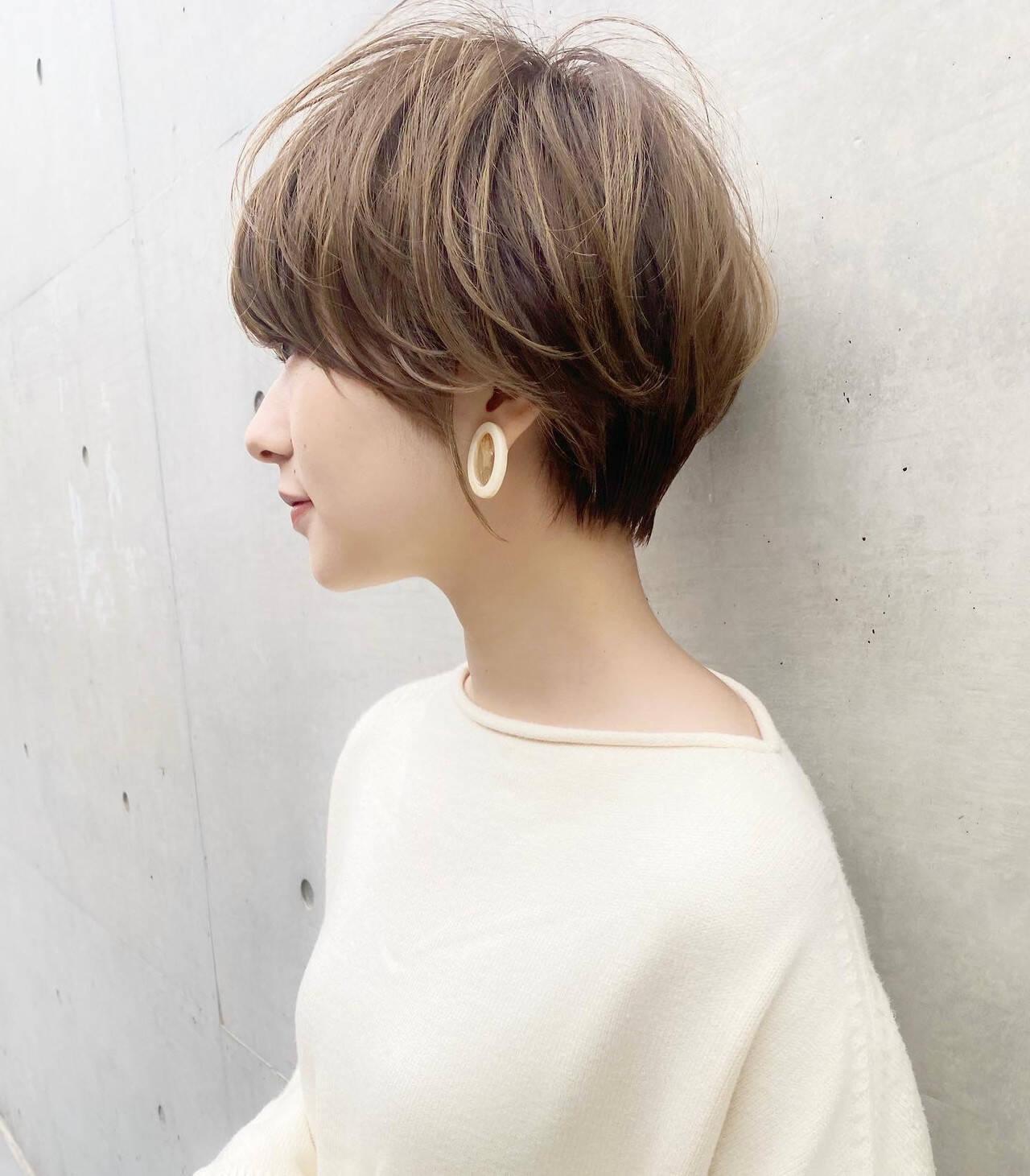 ひし形シルエット ショート 大人可愛い ショートヘアヘアスタイルや髪型の写真・画像