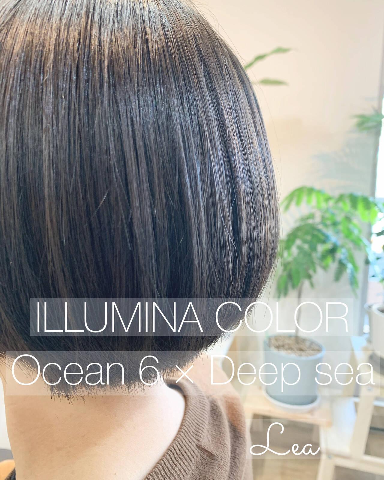 ショートボブ フェミニン ボブ イルミナカラーヘアスタイルや髪型の写真・画像