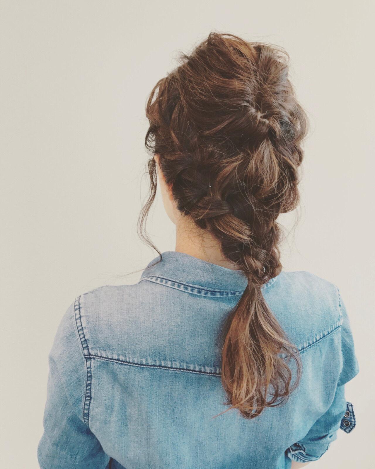 編み込み デート くるりんぱ ロングヘアスタイルや髪型の写真・画像