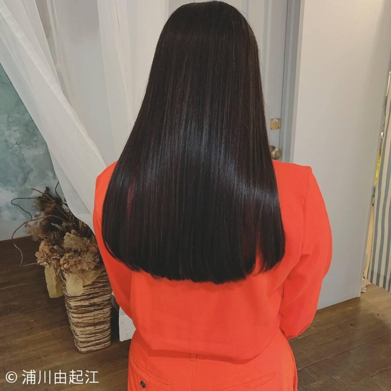 モテ髪 ロング 艶髪 黒髪ヘアスタイルや髪型の写真・画像