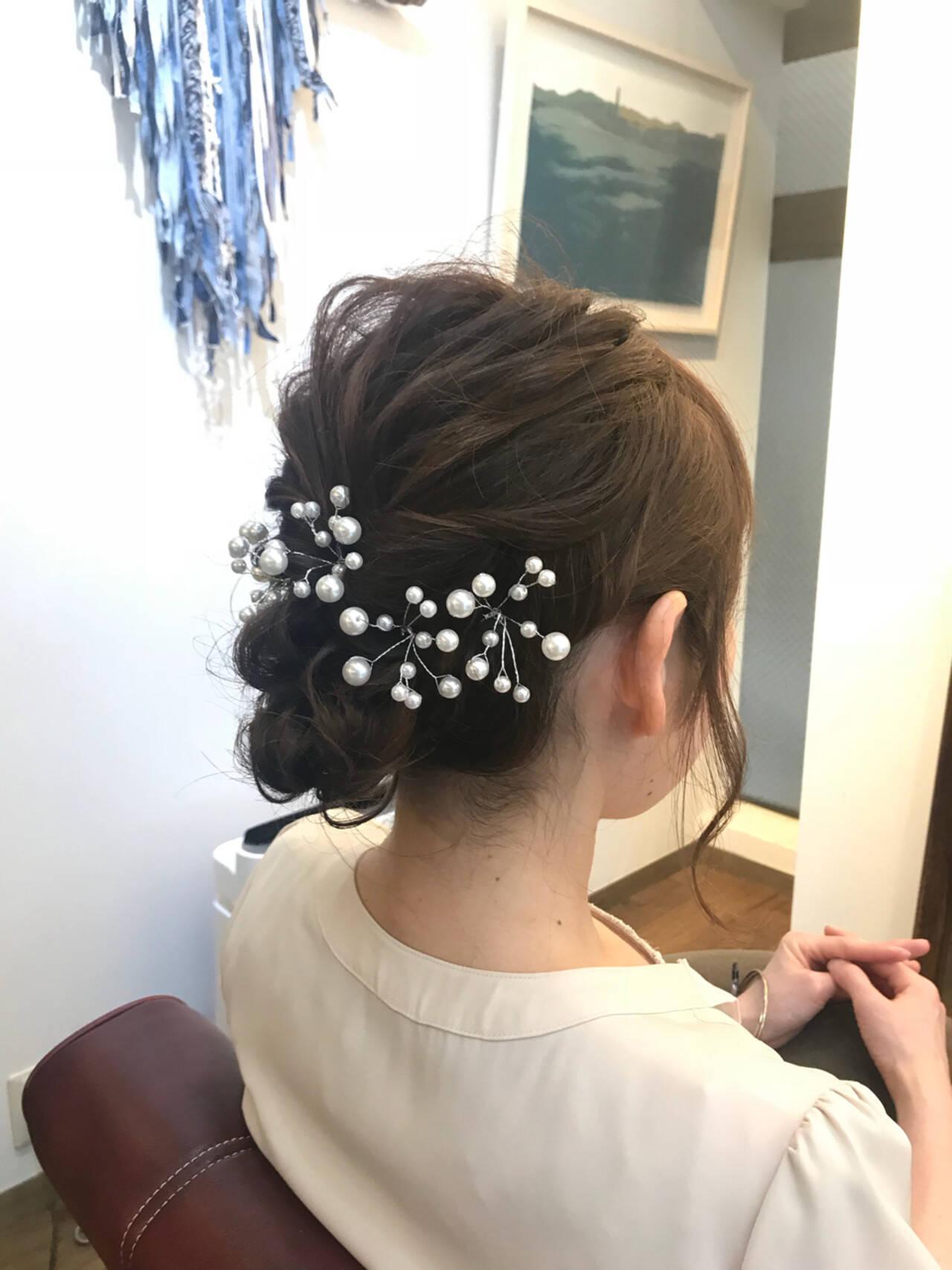 ウェーブ ヘアアレンジ ナチュラル セミロングヘアスタイルや髪型の写真・画像