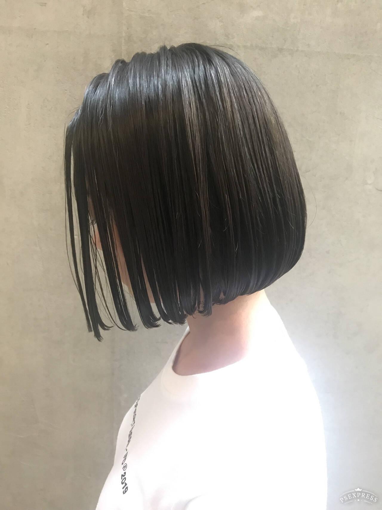 切りっぱなしボブ ミニボブ ボブ ワンレングスヘアスタイルや髪型の写真・画像