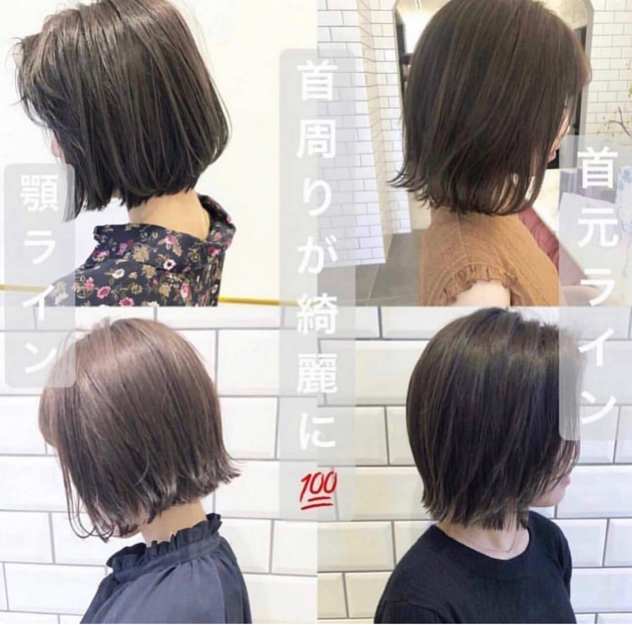 ミニボブ ショートボブ ショートヘア ナチュラルヘアスタイルや髪型の写真・画像