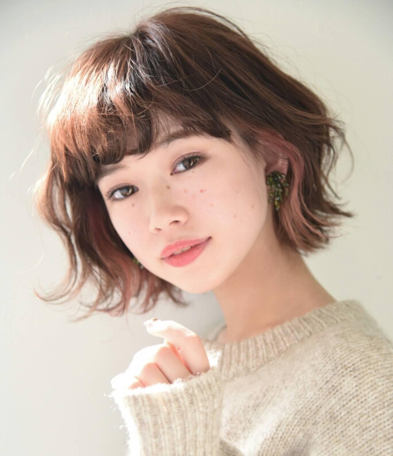 ニュアンス 小顔 ナチュラル パーマヘアスタイルや髪型の写真・画像