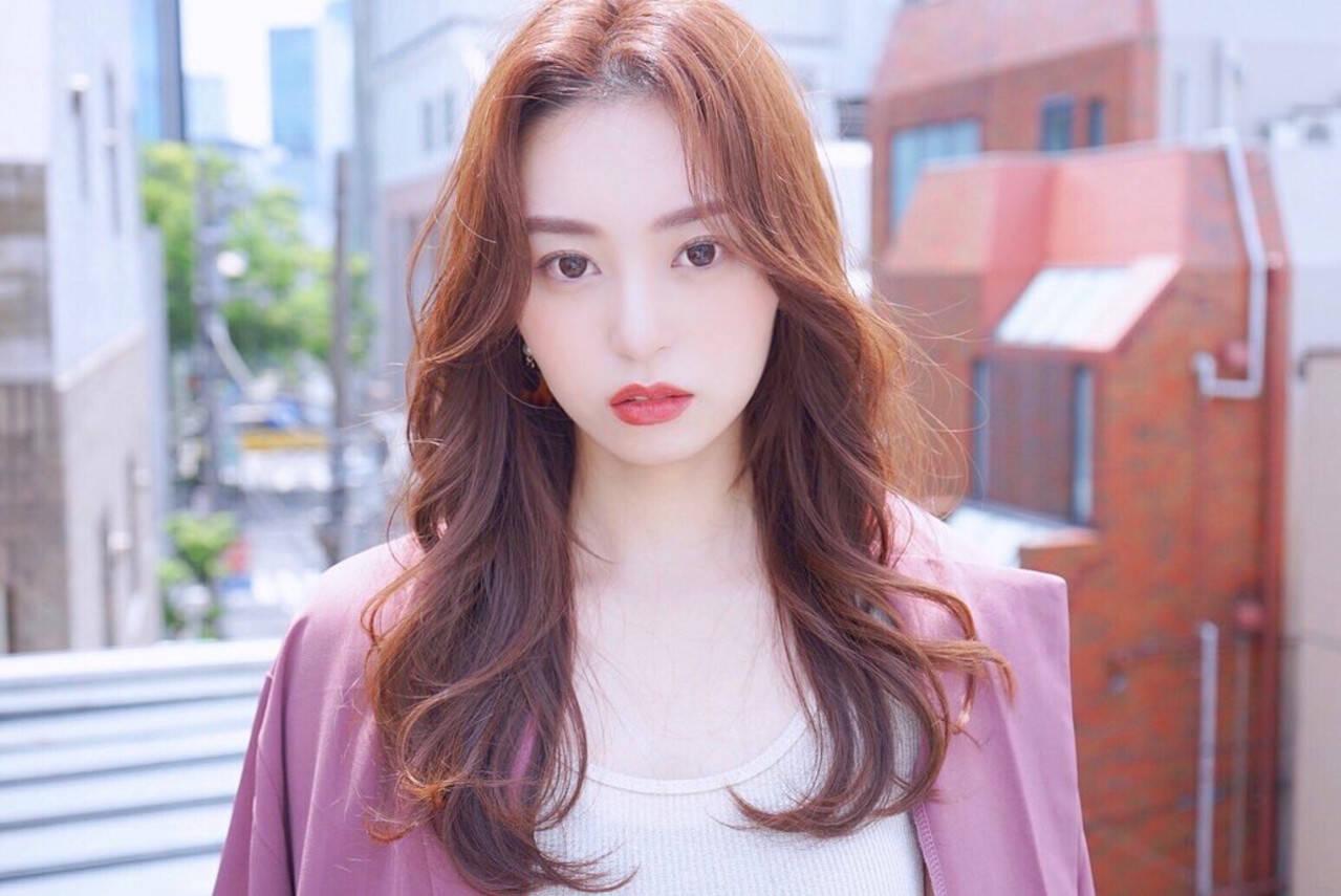 韓国ヘア ロング ナチュラル 韓国ヘアスタイルや髪型の写真・画像
