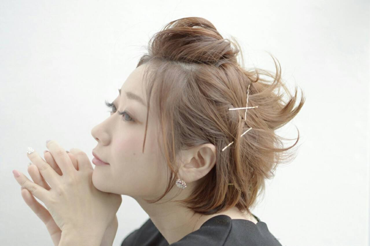 ヘアアレンジ ヘアアクセ ショート ヘアピンヘアスタイルや髪型の写真・画像