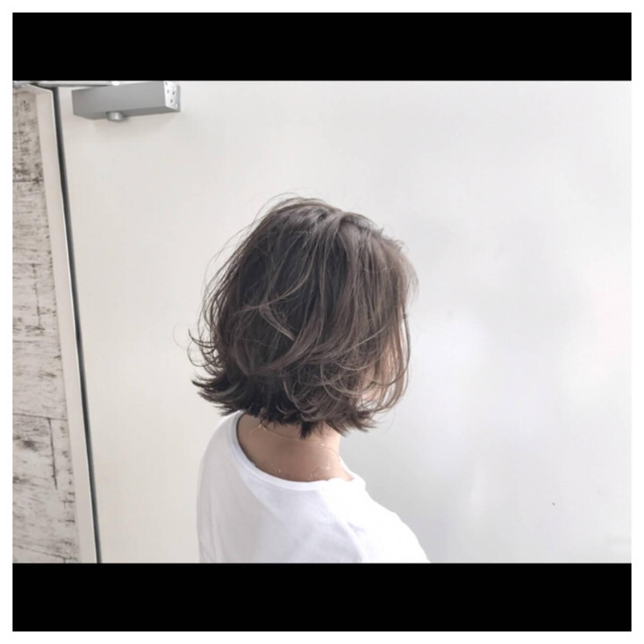 ハイライト おフェロ 抜け感 ボブヘアスタイルや髪型の写真・画像